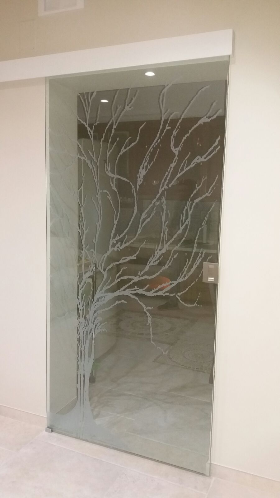 """Porta in vetro temperato con decorazione """"Albero"""""""